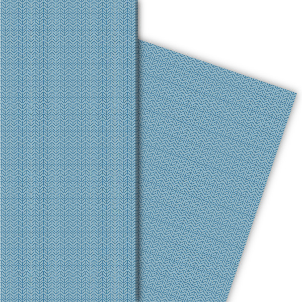 Edles Geschenkpapier in Tweed optik (4 Bögen; 32 x 48cm), in blau